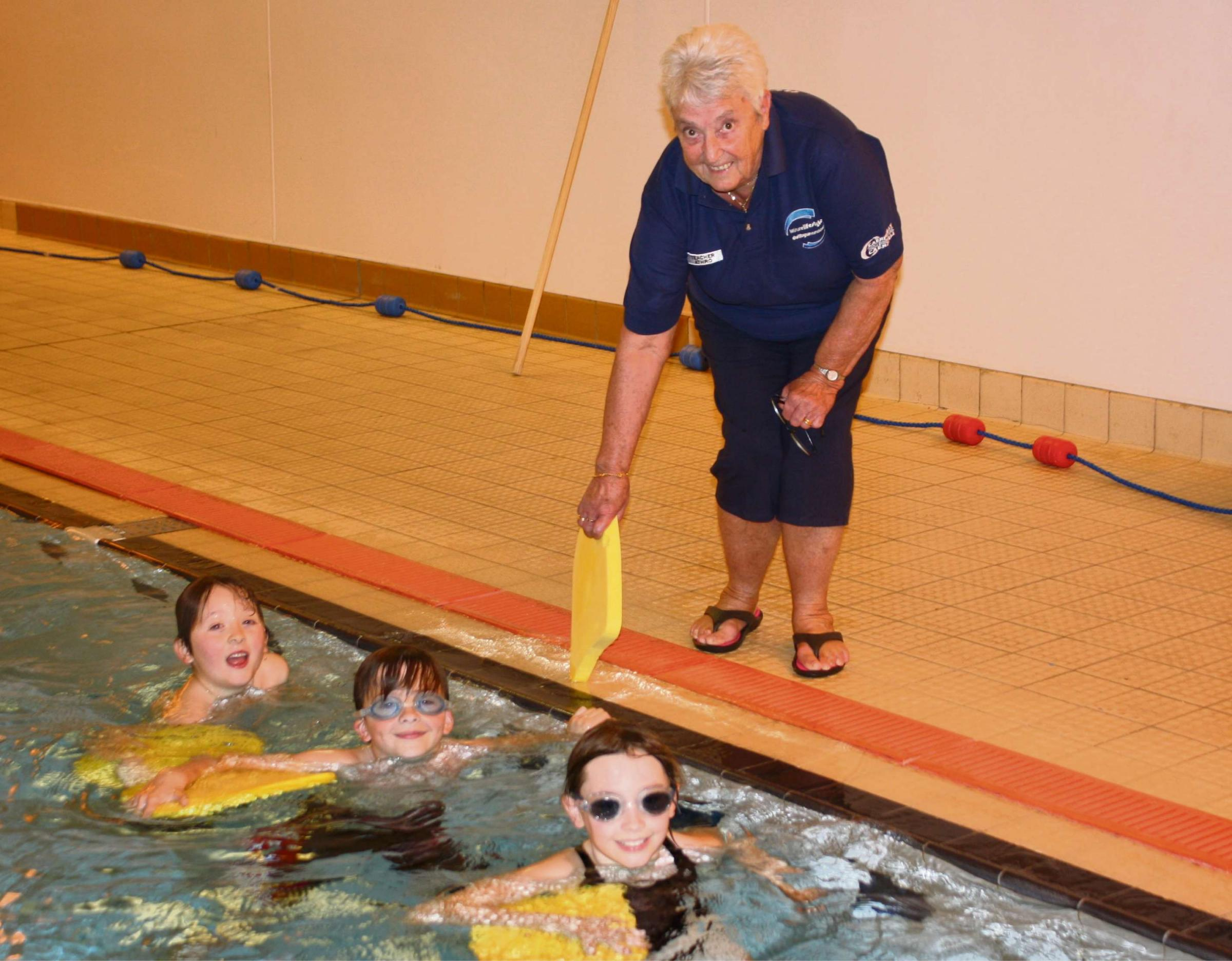 RETIRING: Anne Axford during oner of her last teaching sessions at Risca Leisure Centre with Angharad, Joshua and Oliver.