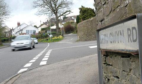 SCENE: Bryngwyn Road in Newbridge where the man fell from the car