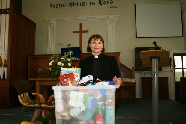 Campaign Series: APPEAL: Reverend Sue Phillips, of the Elim Baptist Church food bank in Pontllanfraith, among those welcoming donations.
