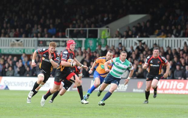 Newport Gwent Dragon v Benetton Rugby Treviso.  Pictured on the attack is Dragons player Tyler