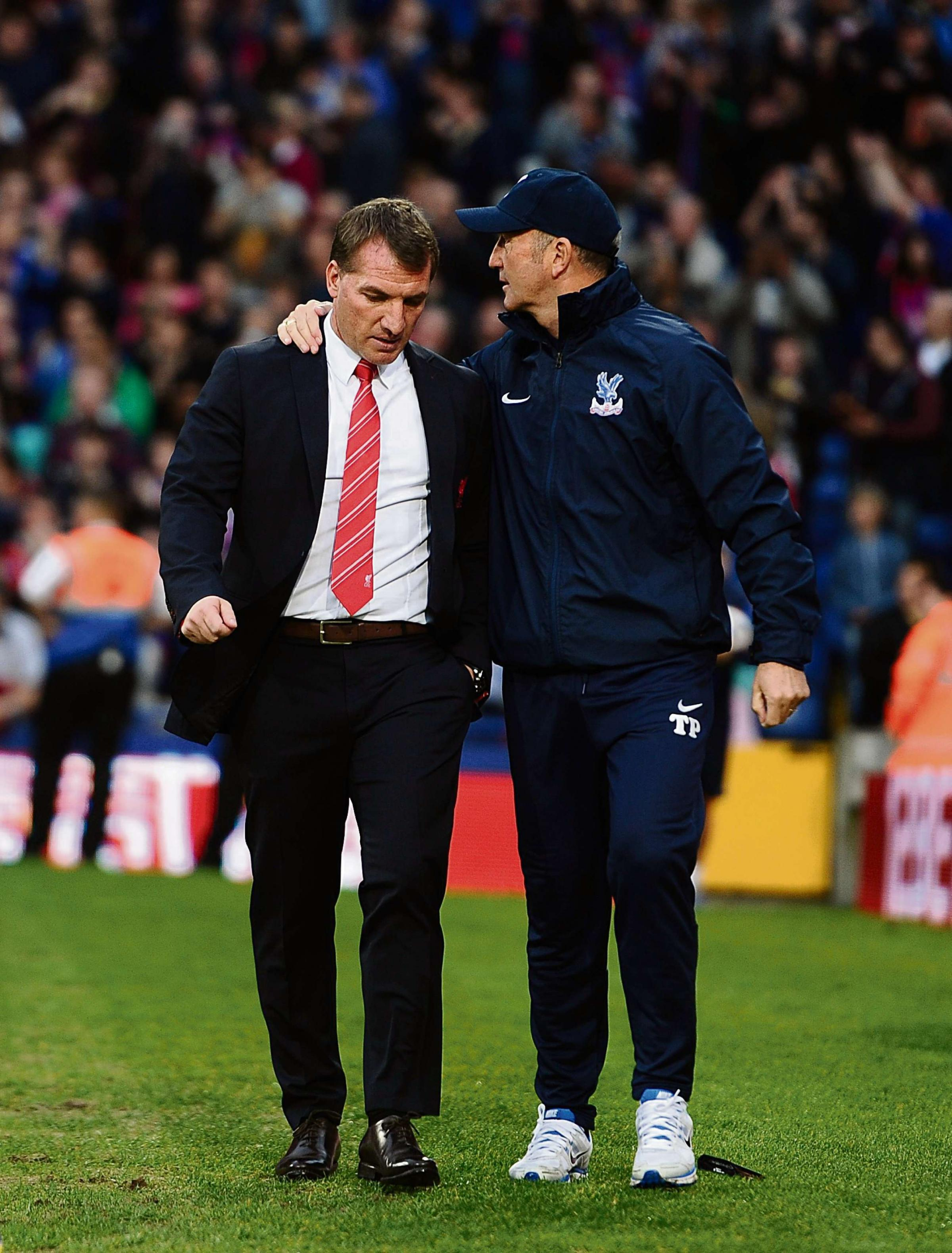 TOP BOSSES: Crystal Palace manager Tony Pulis, right, and Liverpool manager Brendan Rodgers