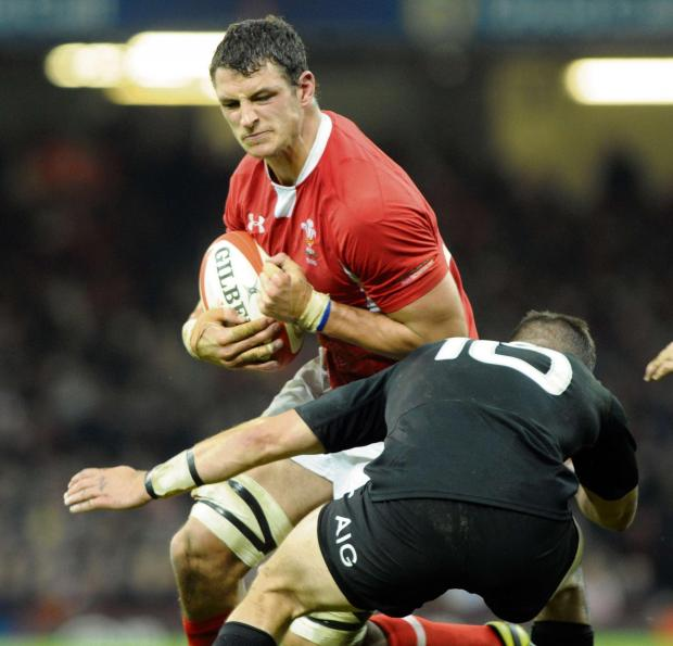 Argus-Mark   24-11-12 Wales v New Zealand All Blacks Aaron Shingler is tackled by Aaron Cruden (6793912)