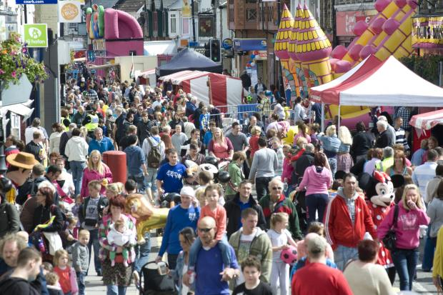 SUMMER TIME: Crowds descend on Blackwood's high street last year.