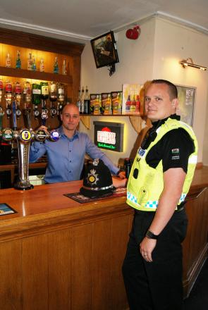 SAFER CAERPHILLY: PC Adam Lang with Landlord of Porters Blackwood, Daniel Rees