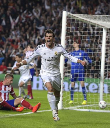 HOMEWARD BOUND: Real Madrid's Gareth Bale celebrates after scoring his side's second goal in the Champions League final last month