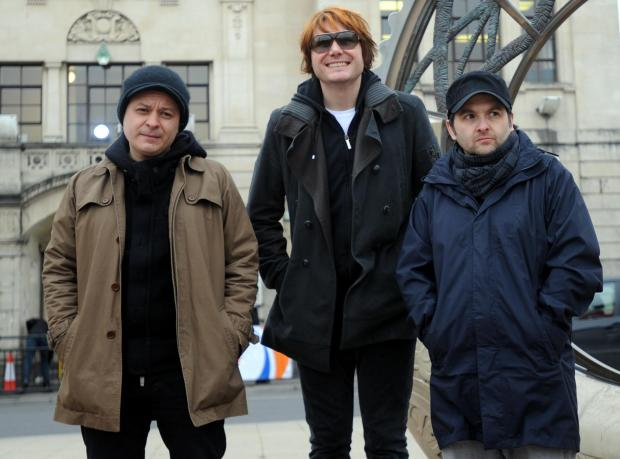Argus-Mark   Reporter-  27-01-11The Manic Street Preachers outside the Blackwood Miners Institute ahead of the Radio 2 concertJames Dean Bradfield, Nicky Wire and Sean Moore (8081896)