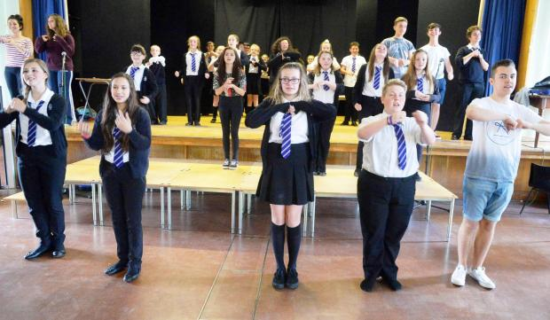 Campaign Series: GETTING IT GOING 'Sunshine on Leith' rehearsals, by cast members of Blackwood Comprehensive School (7991060)