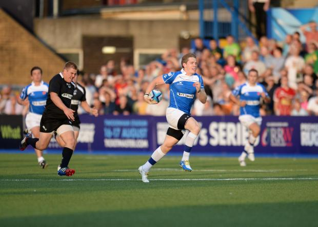 PACE: Dragons wing Matthew Pewtner showed his speed in the Premiership Rugby 7s