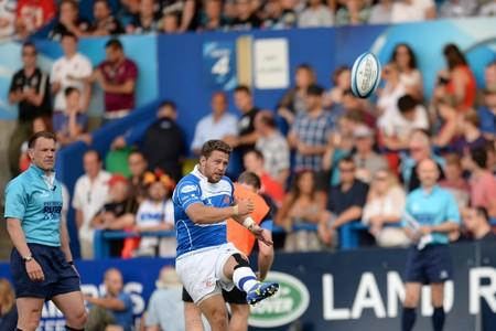 SEVENS STAR: Rhys Jones kicks for goal for the Dragons in the Premiership 7s at Cardiff last week
