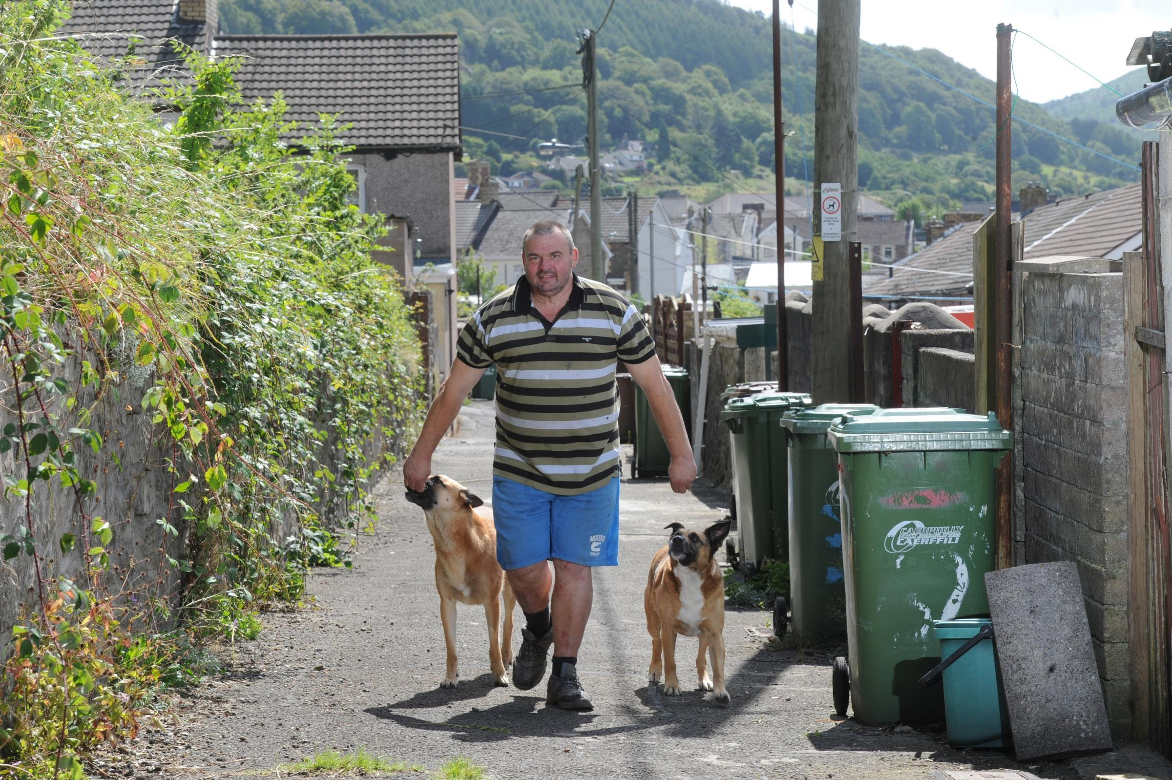 "Phil Rees from Cwmcarn with his dogs ""Shilo"" and ""Rocky"" stopped a burgular leaving a neighbours house (9402027)"