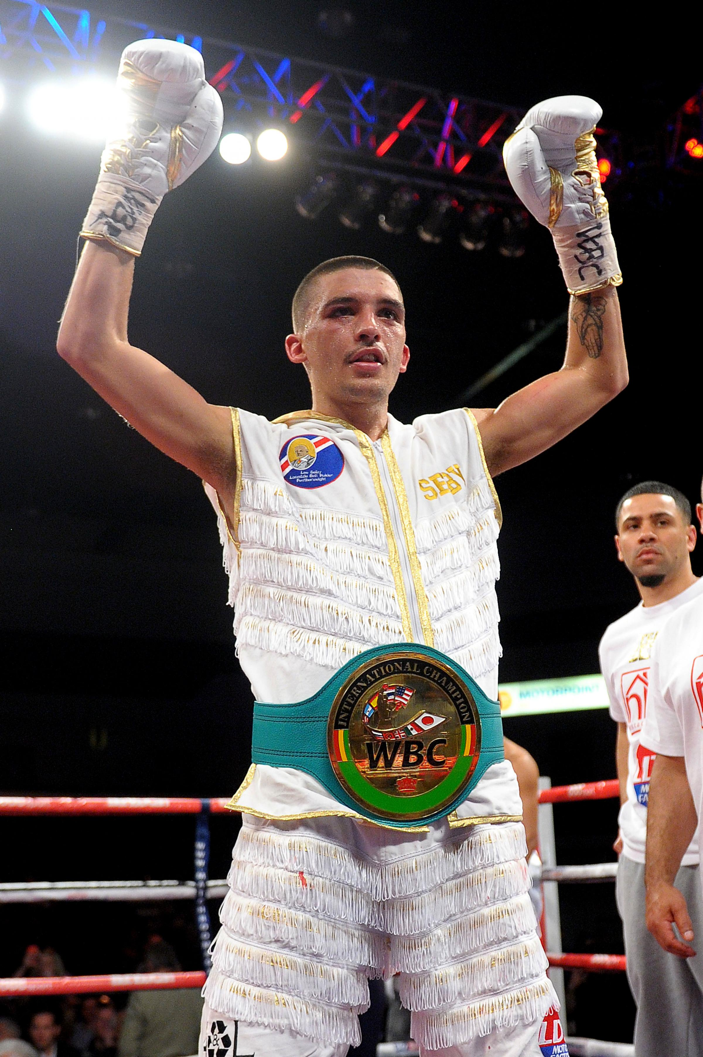RISING STAR: Lee Selby celebrates after winning the WBC international featherweight belt in May