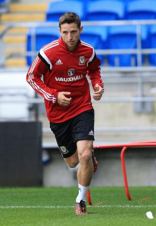 CONFIDENT: Wales star Joe Allen during a training session at Cardiff City Stadium