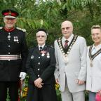 Campaign Series: HONOUR: Lord-Lieutenant for the County of Gwent Simon Boyle, BEM recipient Marion Hook, Mayor of Caerphilly county borough Cllr David Carter and his consort Mrs Valentina Carter.