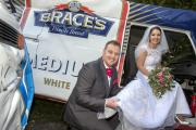 USING THEIR LOAF: Sian James and David Williams were chauffeured to their wedding at St David's Church, Fleur-de-Lys, Caerphilly, thanks to two Brace's bread vans. PICTURE: Huw John