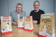 Dave Hughes, sales director, left and Mike Mills, creative director with the packages destined for Tesco