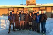 Paul Fosh, second left, with the eight other finishers of the Likeys 6633 Ultra 350-mile Arctic marathon