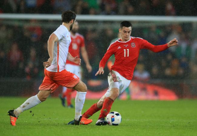 NATIONAL sERVICE: Derby County forward Tom Lawrence is in the Wales squad