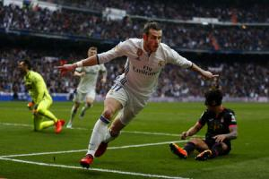 WELCOME RETURN: Real Madrid's Gareth Bale celebrates after scoring against Espanyol