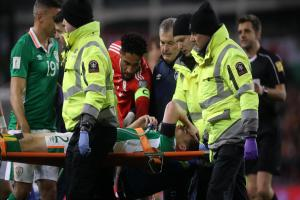 INJURY: Ireland's Seamus Coleman suffered a broken leg after a challenge from Wales' Neil Taylor