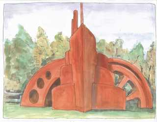 Artist's impressions of Andy Hazell's iconic  sculpture