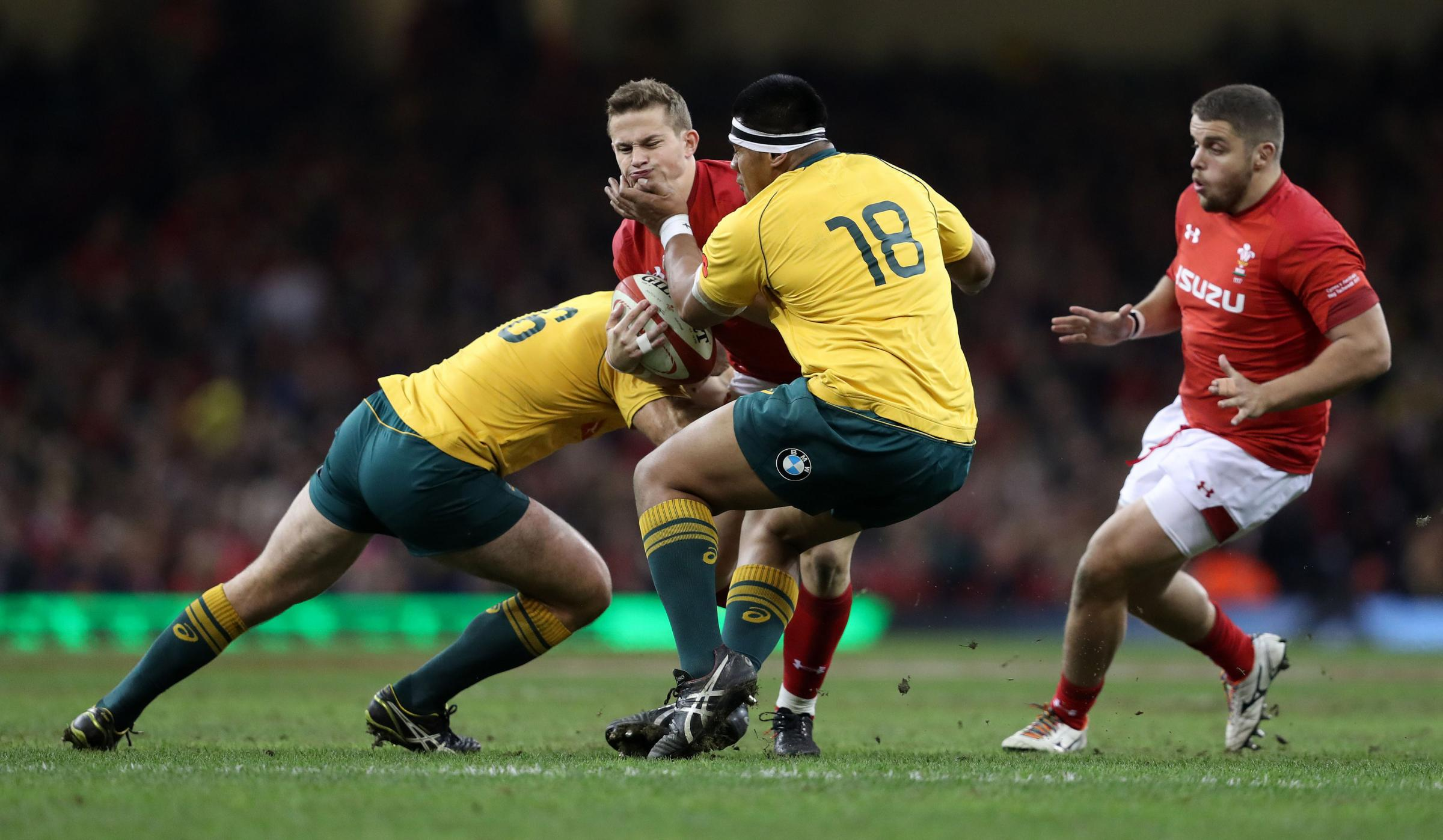 CAP FITS: Hallam Amos, pictured against Australia last week, is one of four Dragons that will face Georgia