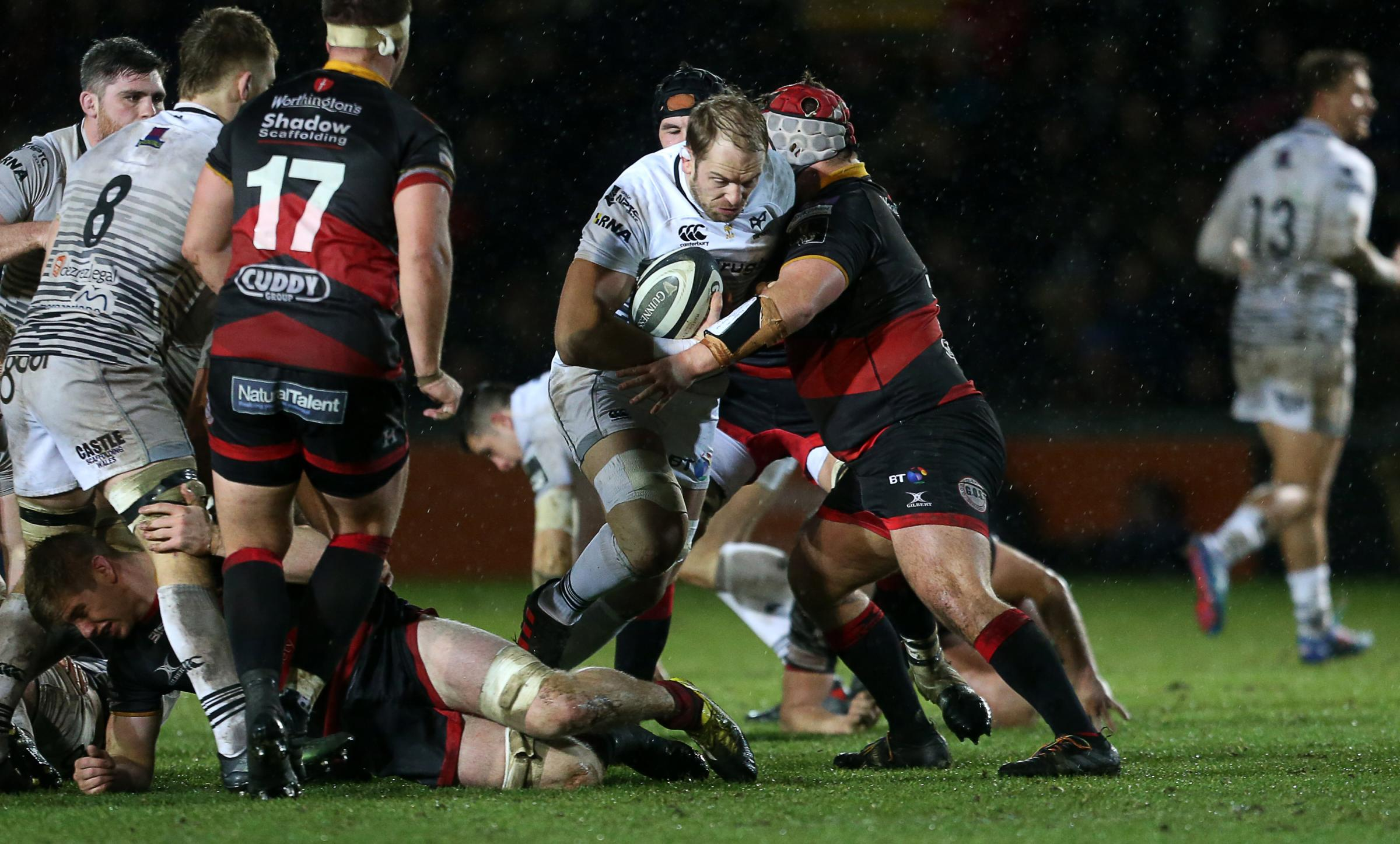 ROOM FOR IMPROVEMENT: Nicky Thomas, pictured tackling Alun Wyn Jones, knows he must be more mobile