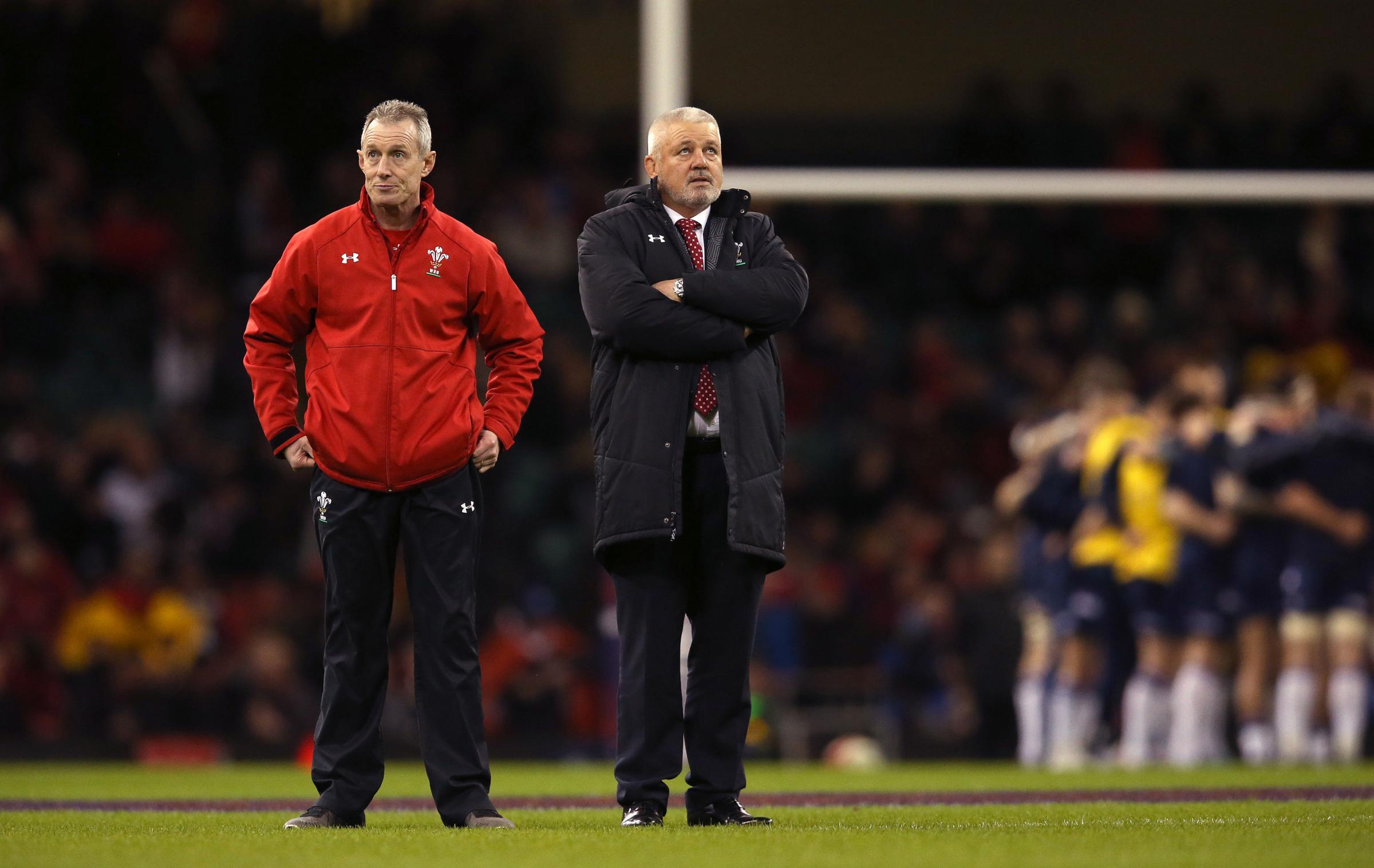 Rob Howley and Warren Gatland before Wales' Six Nations clash with Scotland. Picture: PA