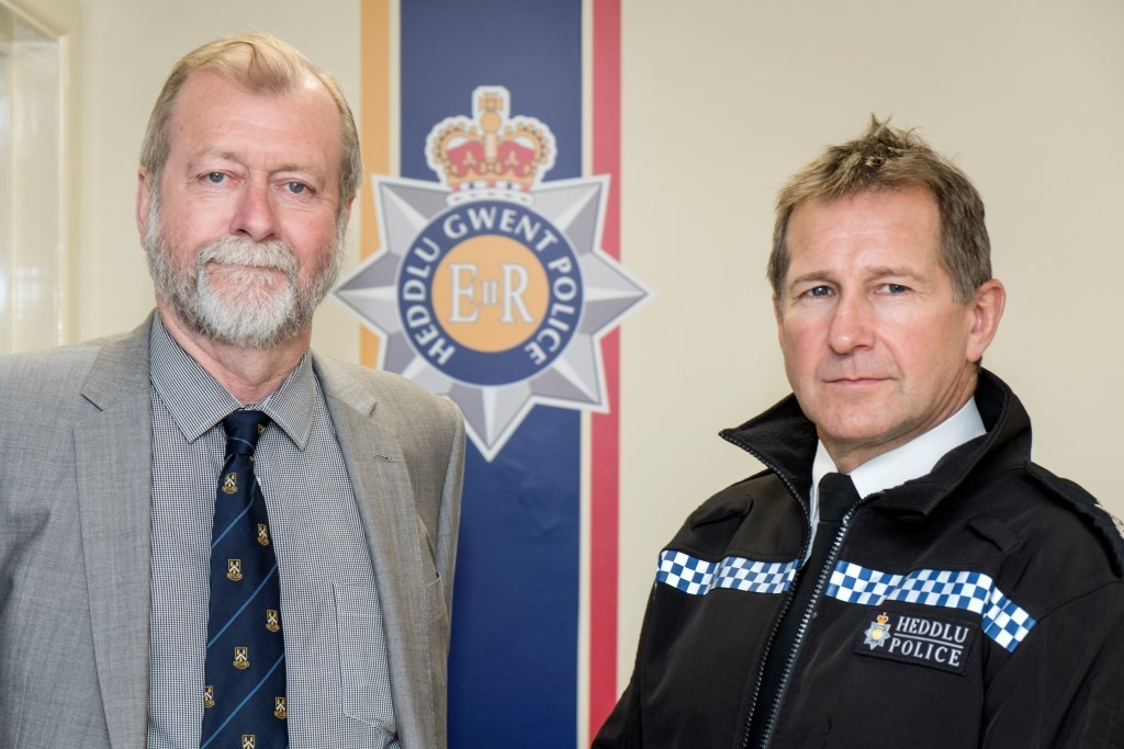 (l-r) Jeff Cuthbert, the police and crime commissioner (PCC) for Gwent and Julian Williams, Gwent Police's chief constable Picture: Nick Treharne
