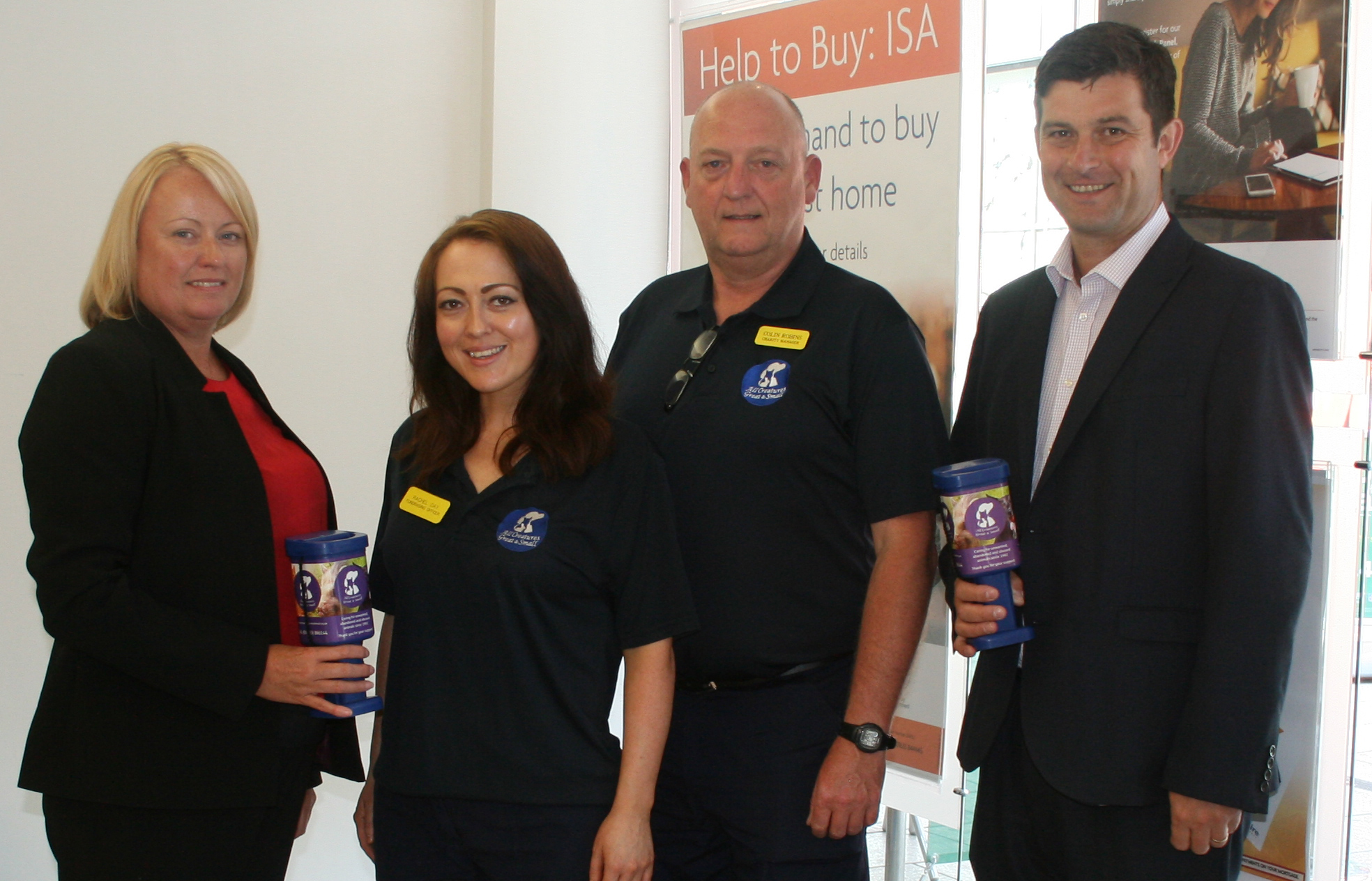 Dawn Gunter, society's chief operating officer; Rachel Day, sanctuary's fundraising officer; Colin Robins, sanctuary's charity manager; Will Carroll, society's chief executive officer