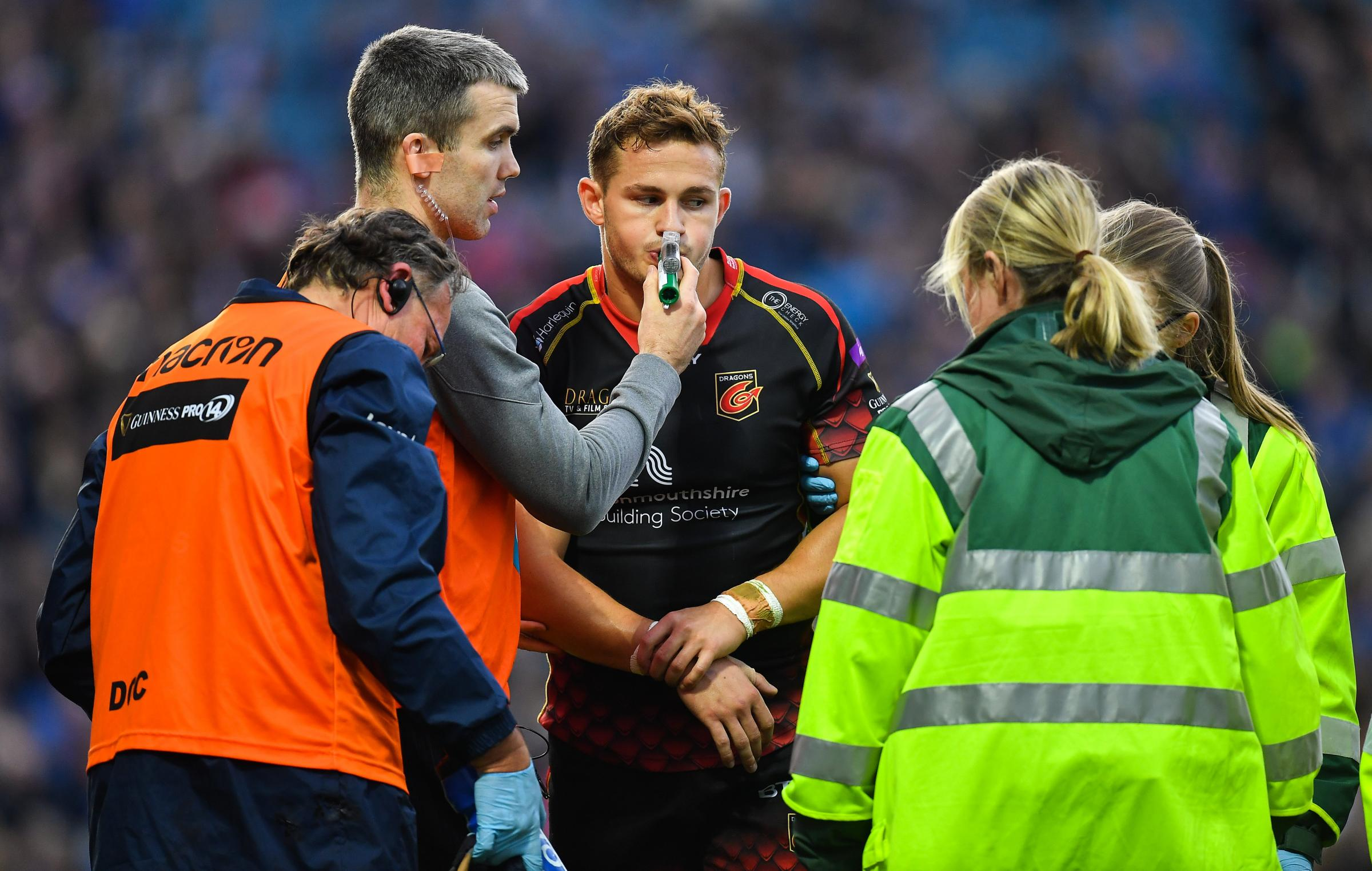 INJURY BLOW: Dragons wing Hallam Amos suffered a dislocated elbow at Leinster
