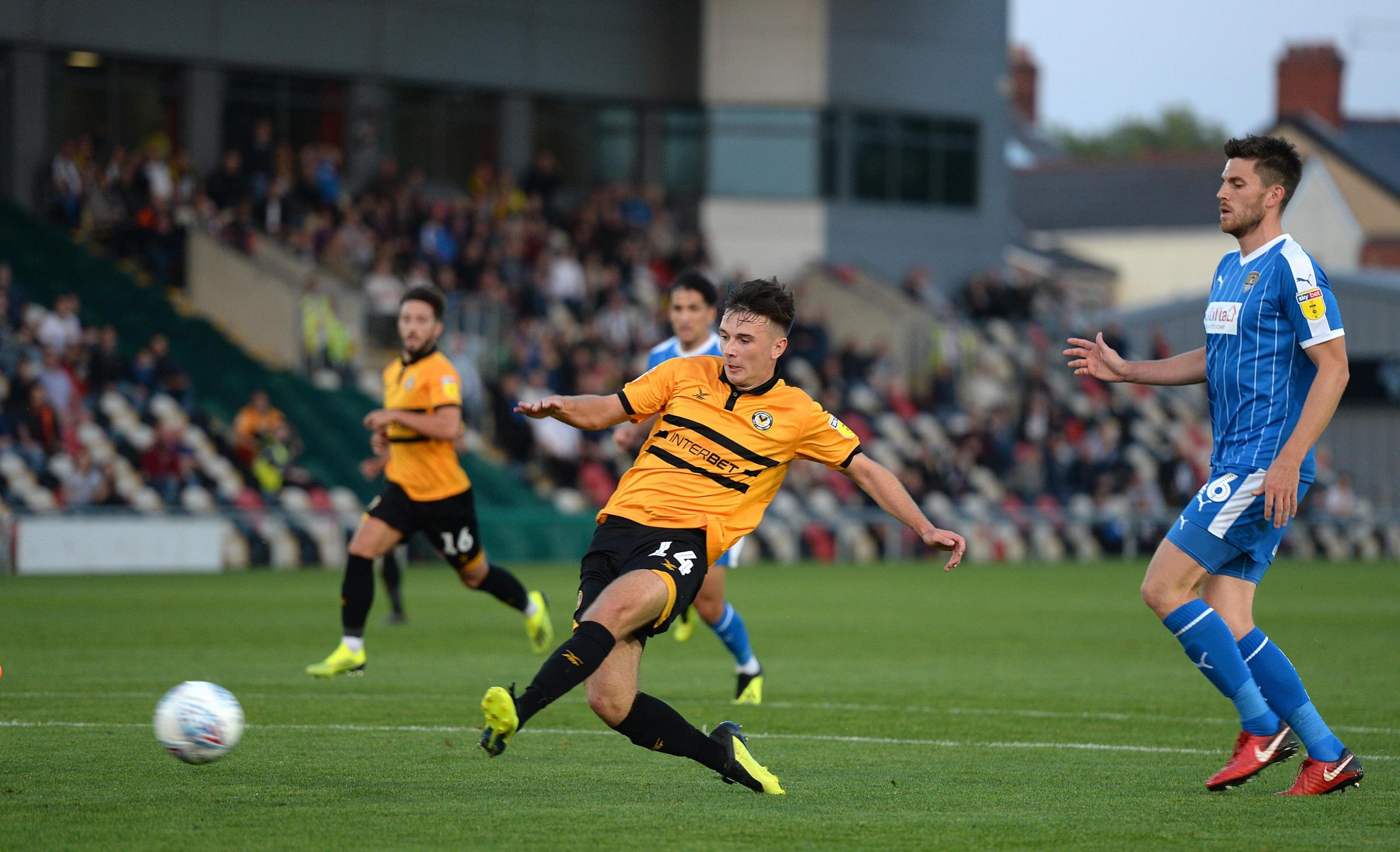 GOAL: Newport County loan star Mark Harris hopes to score at Rodney Parade for Wales under-21s next week