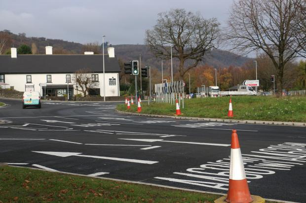 Work on Pwll--y-pant roundabout has recently been completed