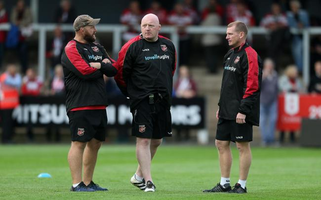PLANNING: Head coach Bernard Jackman, pictured with assistants Ceri Jones and Barry Maddocks, didn't get the chance to see out his three-year deal