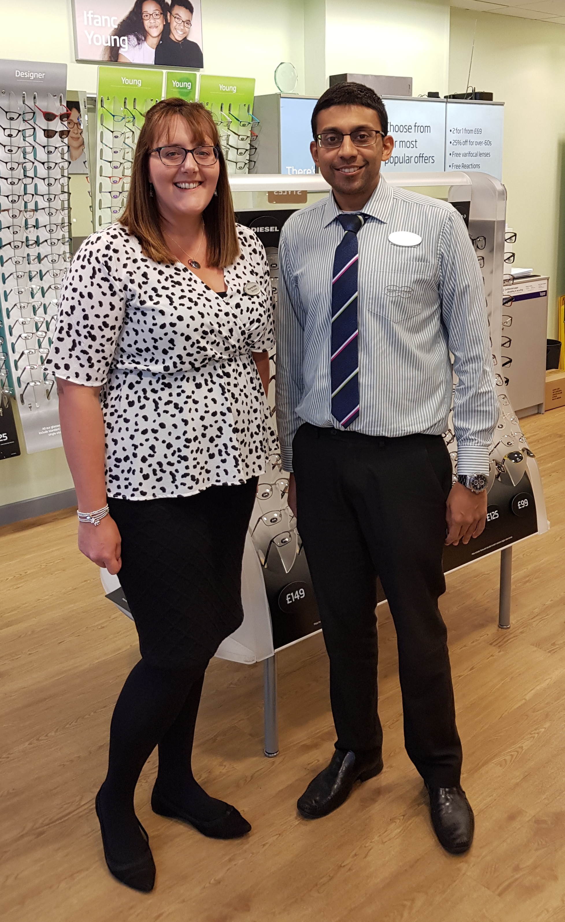 (l-r) Rhiannon Noble, optometrist, with Ankit Shah, store director