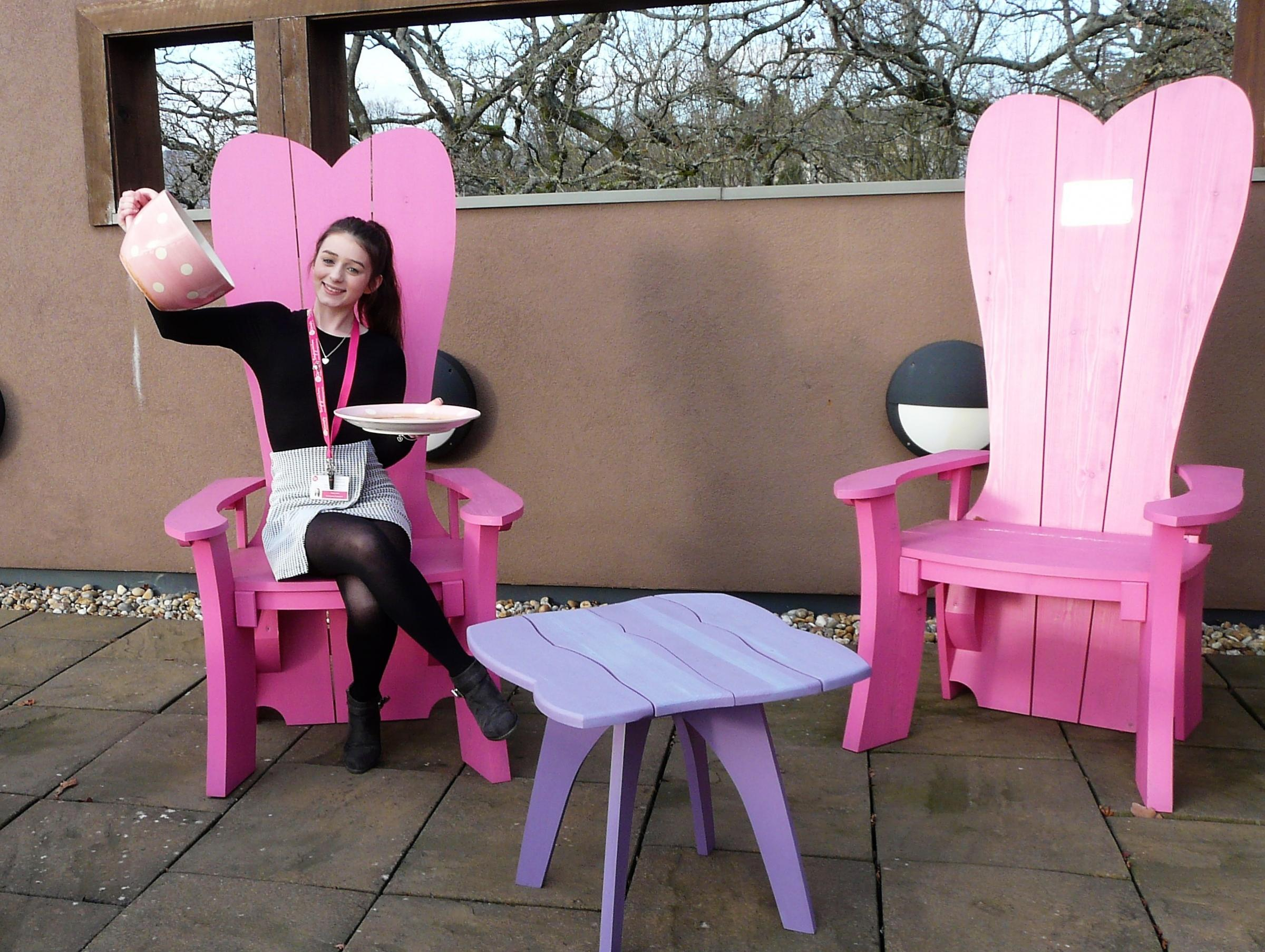 Tea Break: Skye Lewis, of St David's Hospice Care, enjoys a brew for the Big Welsh Brew 2019