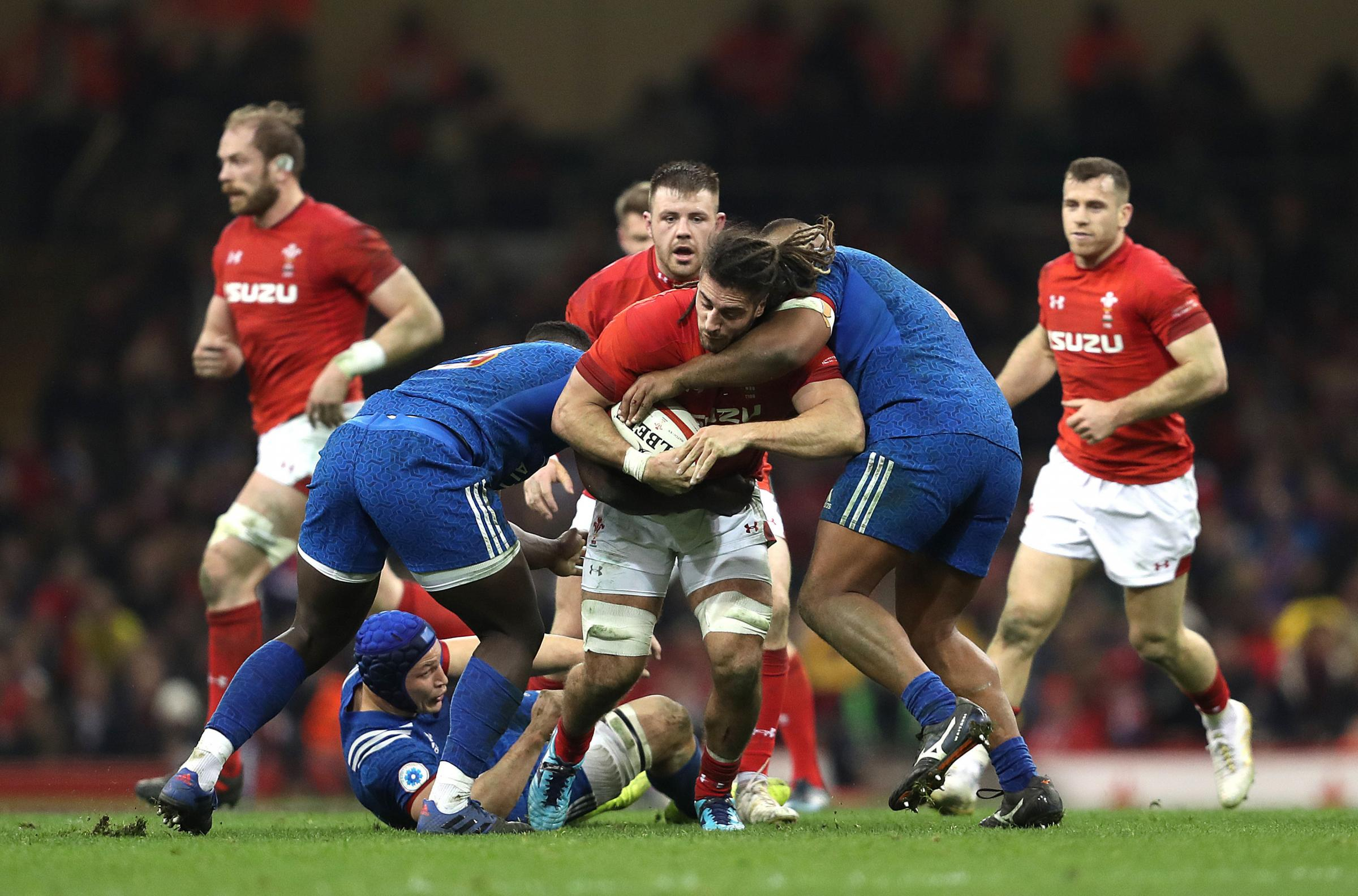 BRUISING BATTLE: Wales flanker Josh Navidi wants to run the big French forwards around