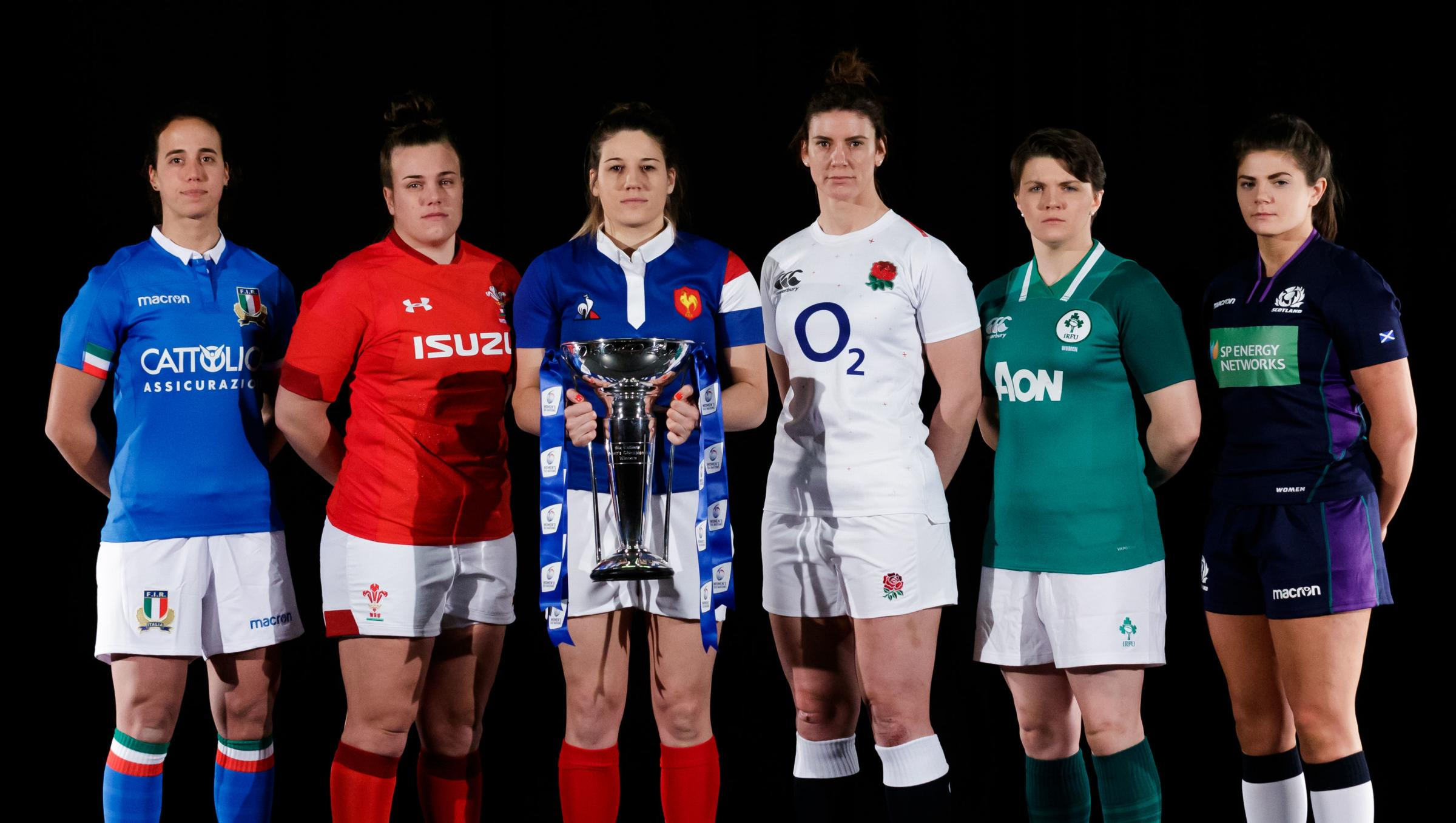 (left to right) Italy's captain Manuela Furlan, Wales' captain Carys Phillips, France's captain Gaelle Hermet, England's captain Sarah Hunter, Ireland's captain Ciara Griffin, Scotland's captain Lisa Thomson during the Guinness Six