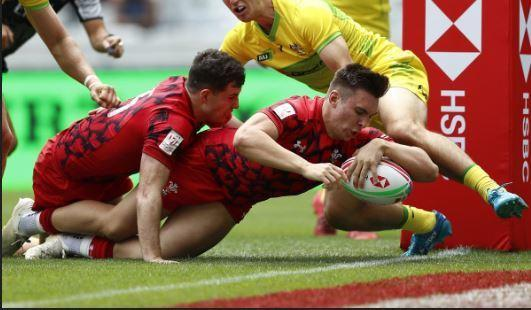 CHANCE TO SHINE: Dragons flanker Taine Basham, pictured scoring for Wales Sevens, will lead the charge in France