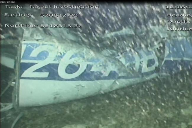 The wreckage of the plane which was carrying Cardiff City footballer Emiliano Sala