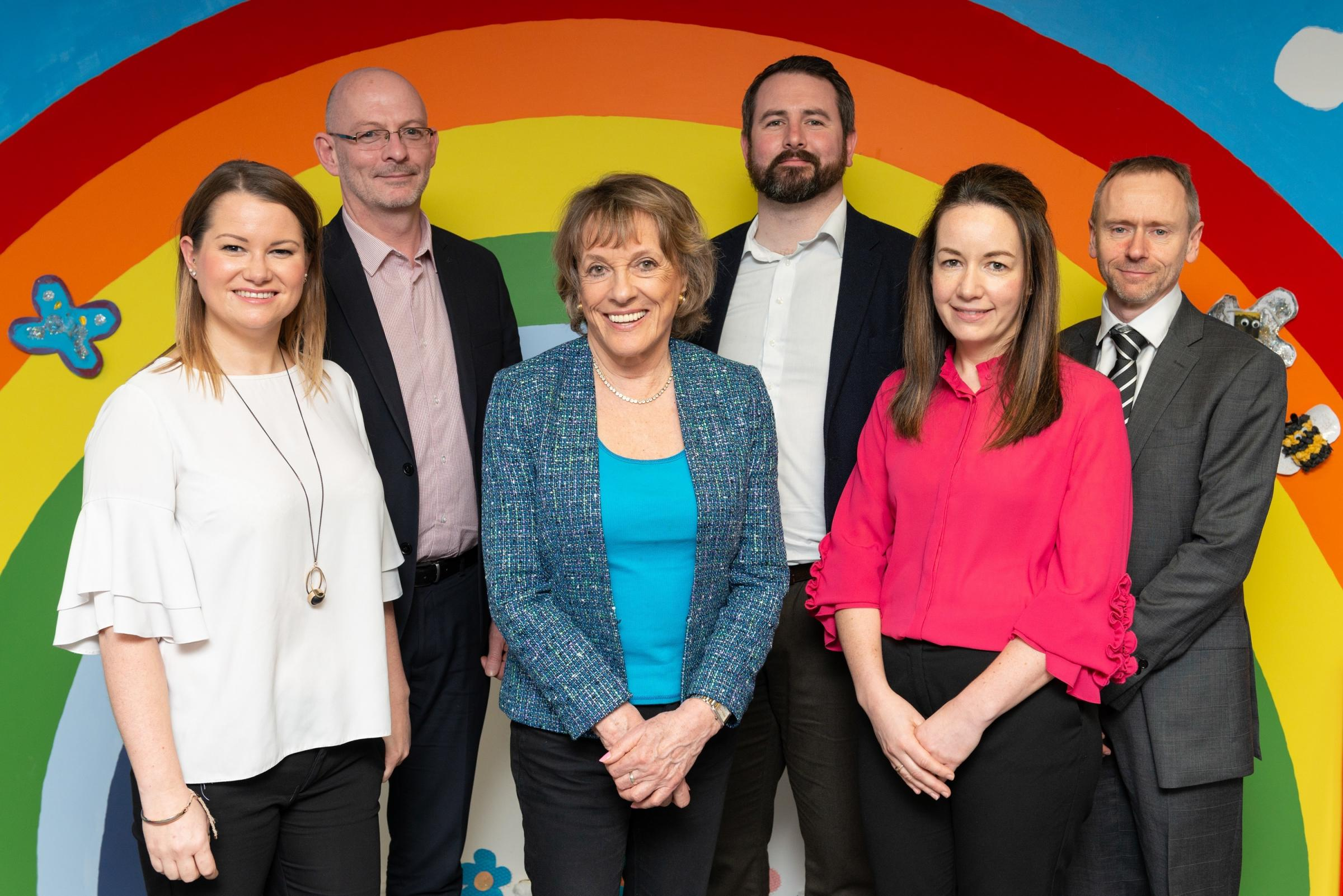 from left – Carris Wakefield, marketing manager; Kevin Thomas, group corporate development director; Jason Holtom, group operations director; Esther Rantzen; Ryan Owen, managing director of Wales and the South West; Nia Cooper, group HR and legal di