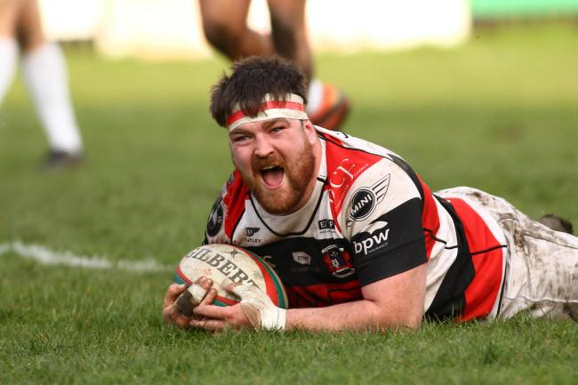 TRY DOUBLE: Flanker Scott Matthews crosses for his second try but there will be no final for Pontypool. Picture: Huw Evans Agency