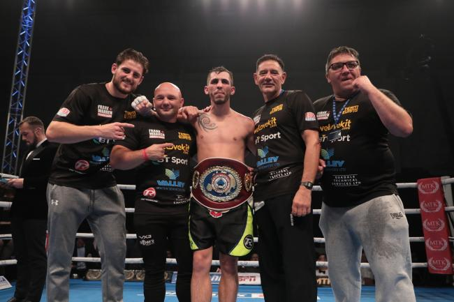 STILL CHAMPION: Craig Evans and his team celebrate after victory over Stephen Ormond in Cardiff. Picture: www.liamhartery.com