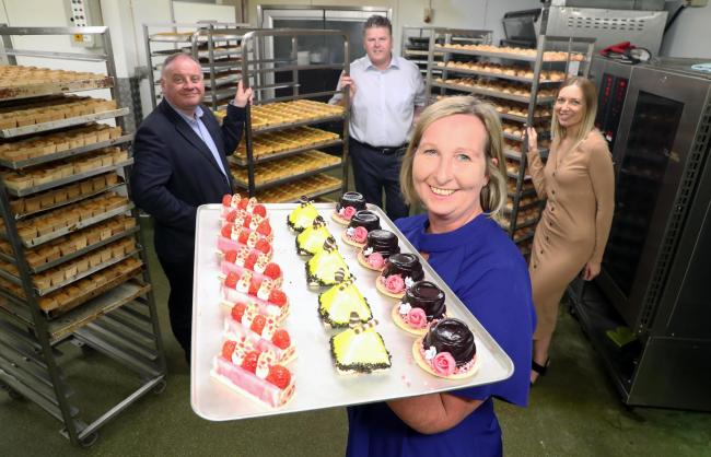L-R Steve Galvin,Senior Investment Executive at the Development Bank of Wales, Ian Hindle, of La Crème Patisserie, Rebecca Rowden, Sian Hindle, managing director of La Crème Patisserie. Picture La Crème Patisserie.