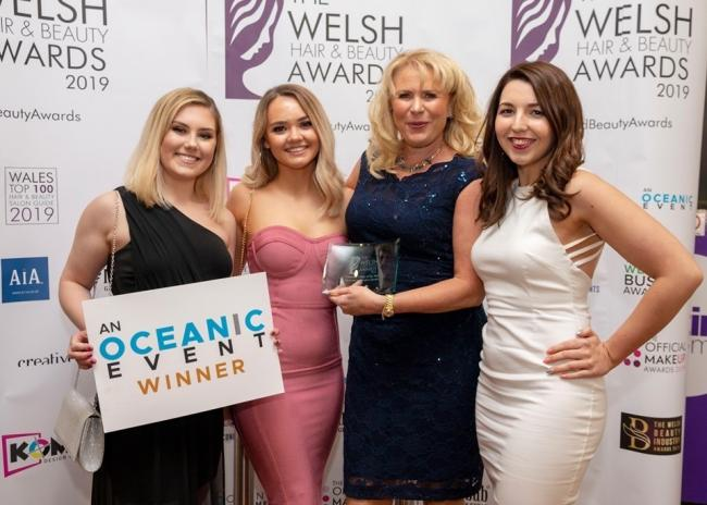 Claire Sawkins and her team from Complexion Medispa which won Cosmetic Clinic of the Year at the 2019  Welsh Hair and Beauty Awards 2019