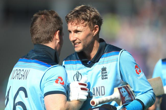 Joe Root (right) was thrilled by Eoin Morgan's six-hitting display.